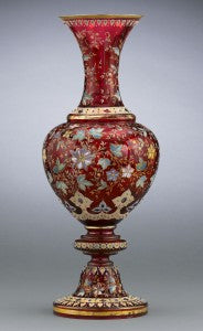 Formed in a classical urn shape in Moser's signature ruby glass, this vase is certainly one of Moser's rarest and most outstanding pieces.