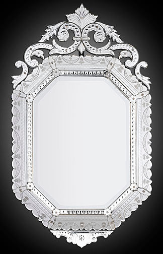 An outstanding Venetian beveled glass mirror detailed with reverse etching along the border. An art form perfected on the island of Murano over 1000 years ago, Venetian glass works such as this large mirror have adorned opulent European palaces and estates for centuries