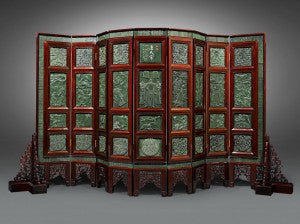 An incredibly large floor screen inset with remarkably carved spinach jade plaques