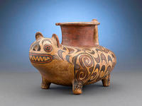 The peoples of Central America used animal symbolism in their pottery, such as this Veraguas Feline Figure, which most likely illustrating a spiritual transformation