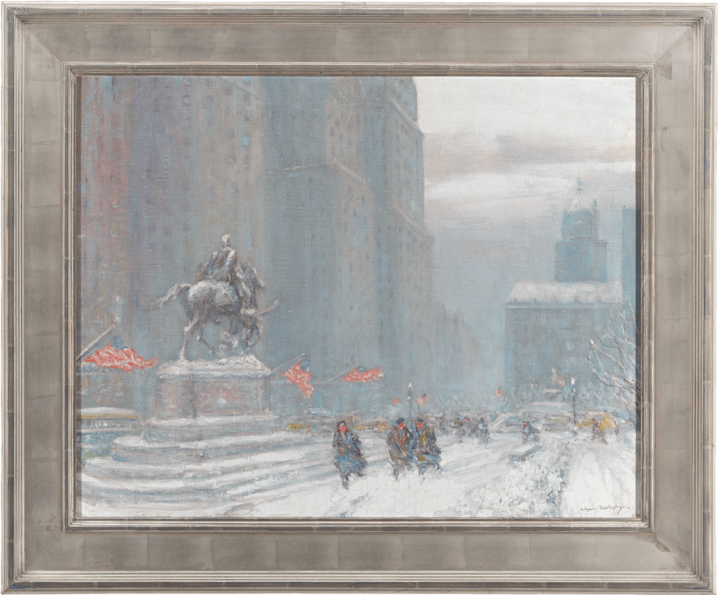 Bring a wintry New York day into your home with this painting by Johann Berthelsen entitled 'Grand Army Plaza with Statue of General Sherman'