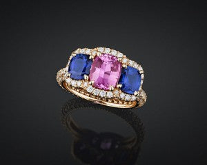 "Stunning pink and blue ""no heat"" sapphires are joined by 1.37 carats of sparkling white diamonds in this elegant ring"
