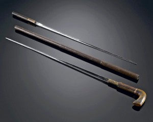 Two-sword cane conceals a pair of swords.