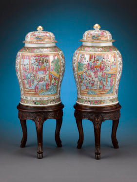 The Rose Medallion pattern, extremely desirable in Western Europe, was used on a variety of utilitarian forms, such as these monumental pair of urns