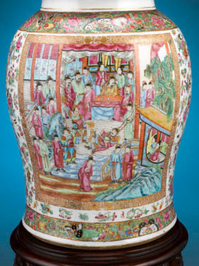 The Rose Medallion pattern features narrative panels of vibrant colors, depicting people, butterflies, birds, and trees