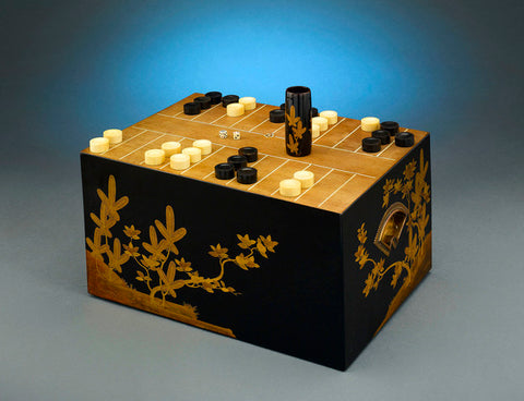 Japanese Backgammon or Sugoroku Game Set