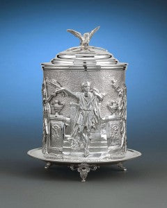 This extraordinary Victorian silver plate biscuit box boasts expert craftsmanship and a stunning design.