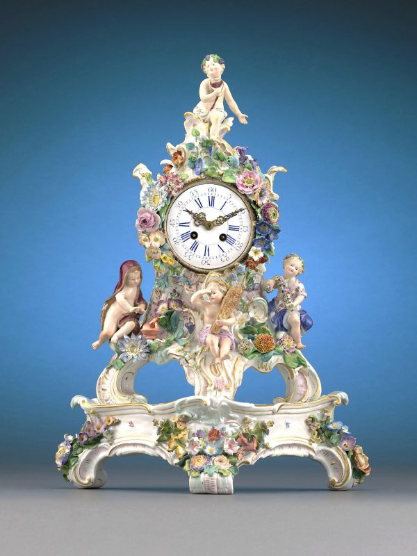 This incredible Meissen clock is crafted entirely of porcelain and depicts the Four Seasons