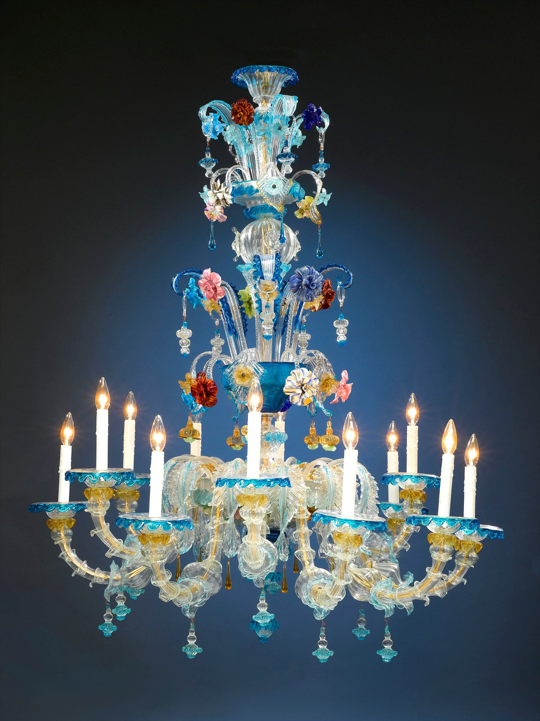 An example of Murano glass, a vivid blue chandelier, circa 1880