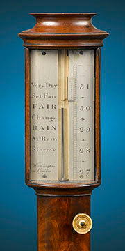 Close up of English Stick Barometer by Worthington of London. Owning a barometer in the early Georgian period was considered a basic necessity and even households of the most modest means were often in possession of some manner of the instrument.