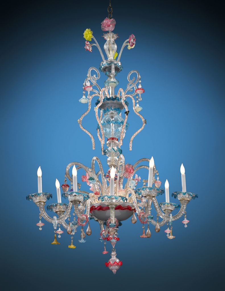 A Murano glass chandelier, circa 1880.