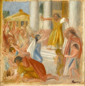 Renoir captures the dramatic apex of the legendary Greek tragedy in this work entitled Oedipus Rex