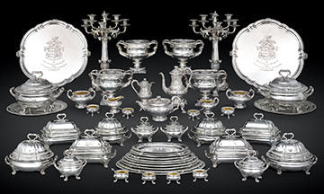 The Gladstone Dinner Service by Paul Storr was presented to Sir John Gladstone in 1824. The service is comprised of 57 pieces in all, each crafted in the master's superb Neoclassical aesthetic.