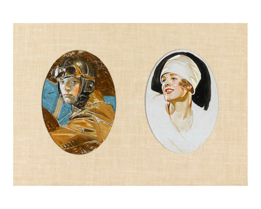 Aviator and Woman in a White Hat by J.C. Leyendecker