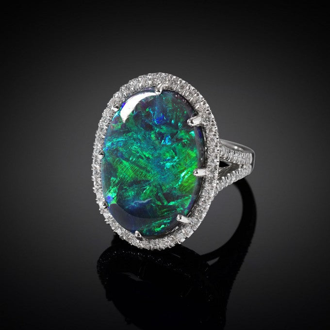 A kaleidoscope of colors is exhibited in this striking 16.44-carat black opal, which hails from the famed Lightning Ridge Mine in Australia