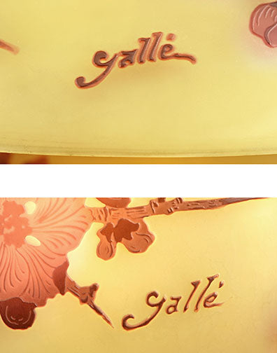 Signatures that appear on the Gallé lamp (above)