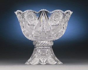A field of twinkling hobstars, fans and stars are interspersed amongst ribbons of strawberry diamond in the delightful and intricate design of this T.B. Clark Punch Bowl.