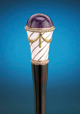 Comprised of a myriad of hardstones, enameling, and gemstones, this Fabergé walking stick is evocative of craft techniques from the 18th century and a testimony to Peter Carl Fabergé's design inspiration