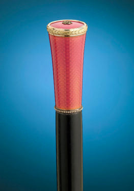 An enamel-topped walking stick that combines the luxury, style and character for which Fabergé is known.