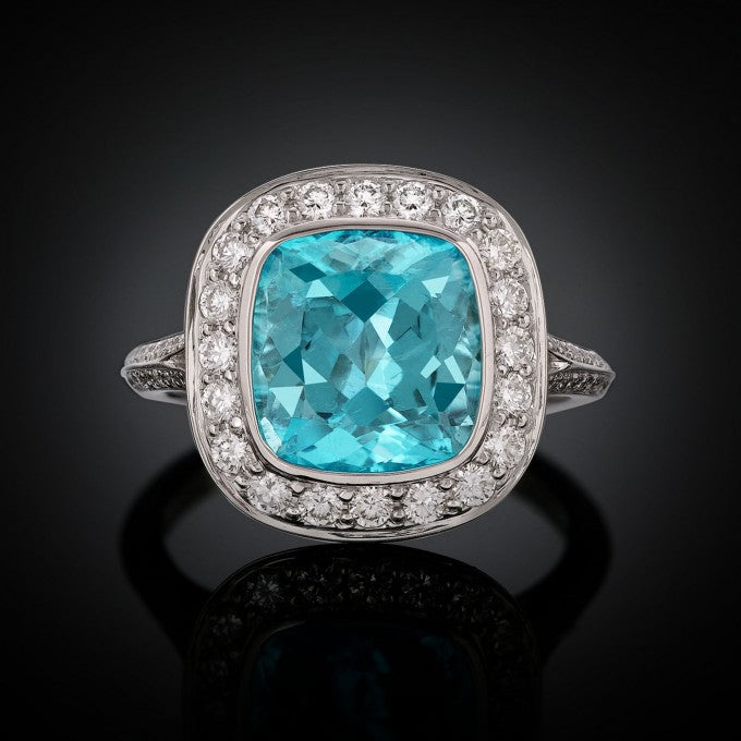 The cushion-cut 3.62-carat jewel displays the exemplary neon blue-green color so prized in these tourmalines