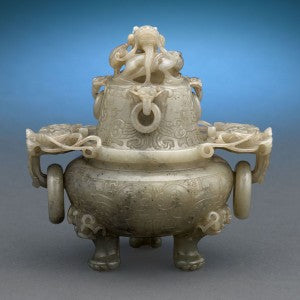 A beautiful Qing Dynasty censer crafted of grayish-green nephrite jade