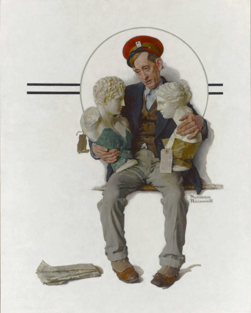 """Delivering Two Busts"" epitomizes the Americana charm and historical significance of Rockwell's oeuvre"