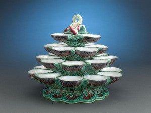 This rare and lovely majolica oyster stand by Minton would be the star of any dining affair.