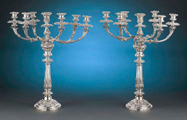 A wonderful pair of Sheffield plate candelabra by renowned silversmith Matthew Boulton