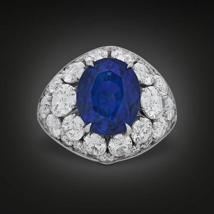 "The breathtaking color and rarity of this 10.30-carat natural, ""no-heat"" Burma sapphire is perfectly presented in this fabulous platinum ring"