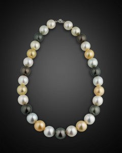 The pearls range in color from stunning white to glamorous gold, and sleek black to flint gray