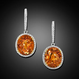 These stunning drop earrings boast 17.58 total carats of radiant Mandarin garnets