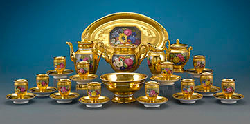 "Each of the 39 exquisite pieces of this Meissen Tea and Coffee Service features delicately hand-painted cartouches of the popular ""Meissen Rose"" within a floral still-life"