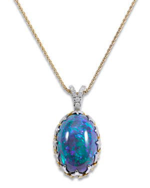A necklace featuring a 20.56 carat black opal