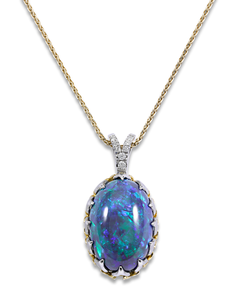 An eye-catching 20.56-carat black opal is the star of this stunning necklace
