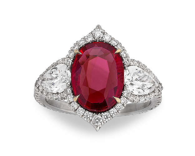 Untreated Ruby and Diamond Ring, 3.02 Carats