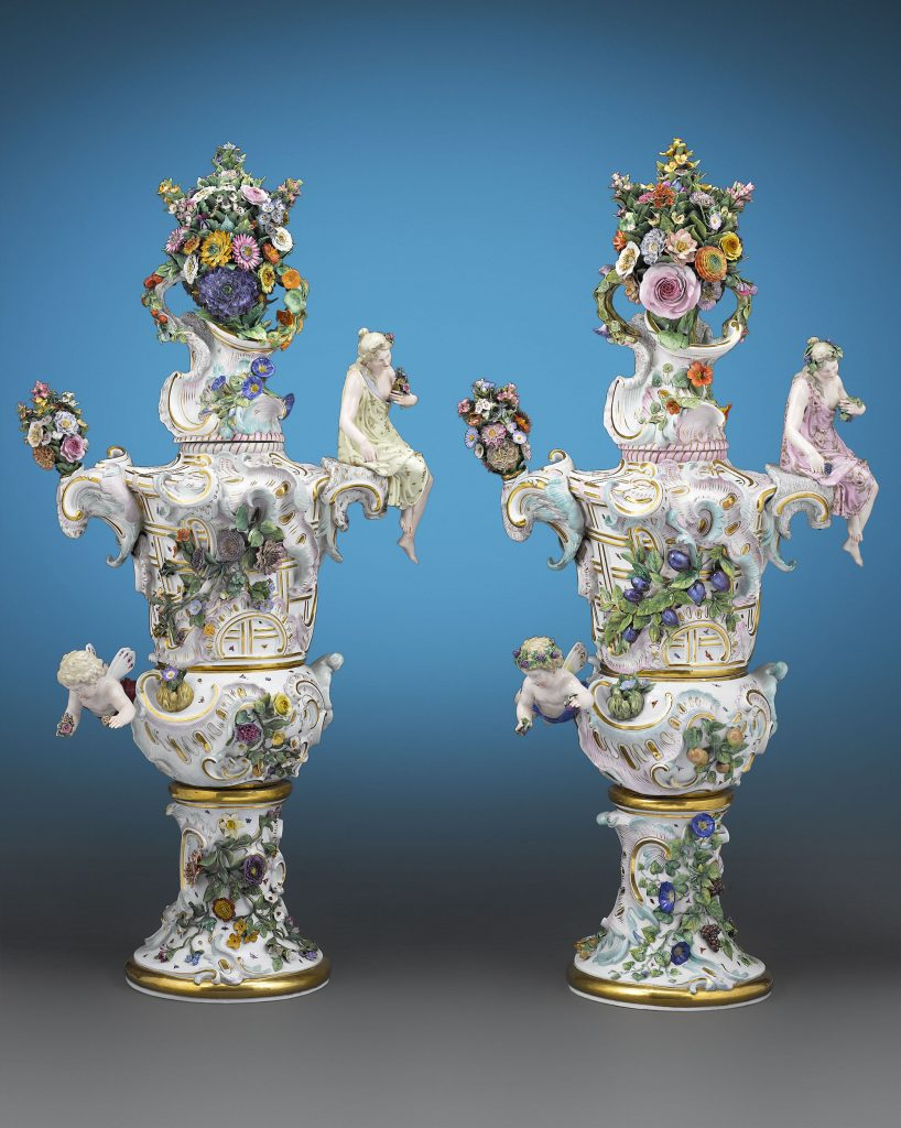 These incredible Meissen porcelain urns depict the themes of Summer and Autumn. Standing at over 4-feet high, these urns showcase amazing details and would only have been crafted only for Meissen's most affluent clients. Circa 1880