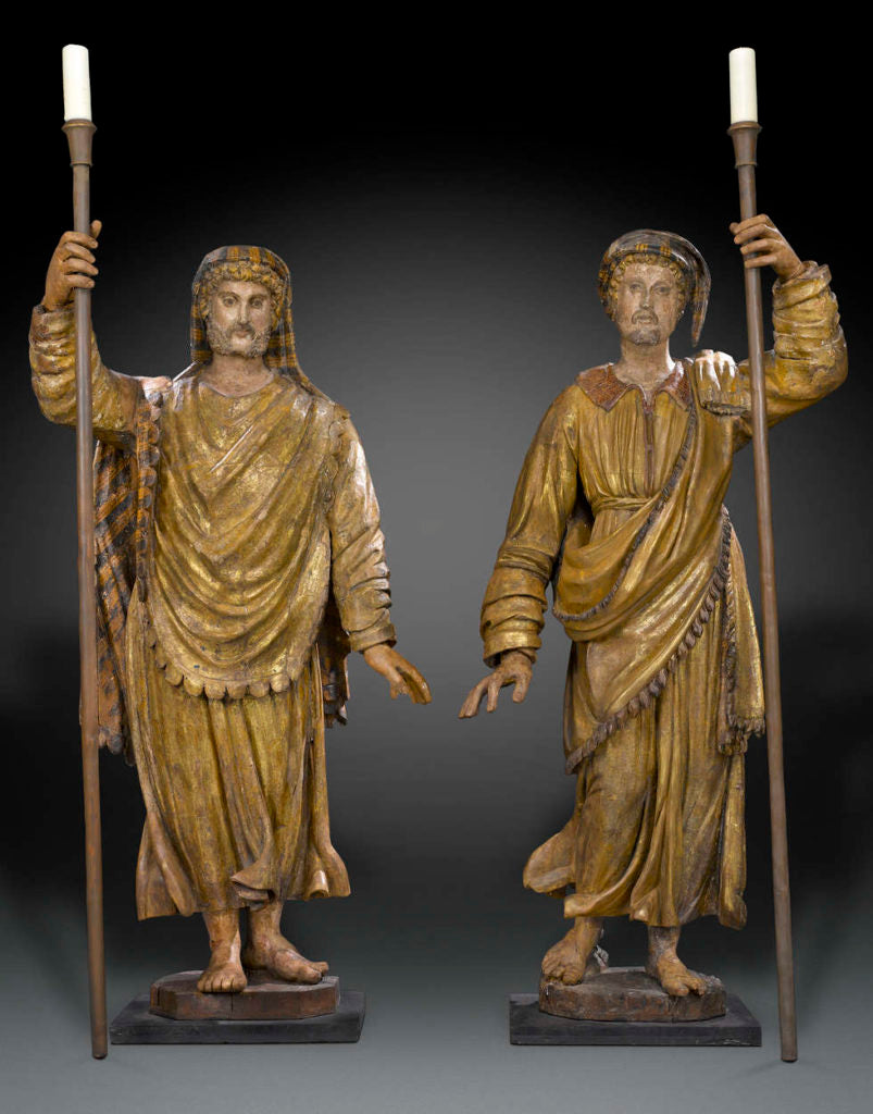 A pair of Venetian torchères paying homage to Marco Polo and Amerigo Vespucci, early 17th century