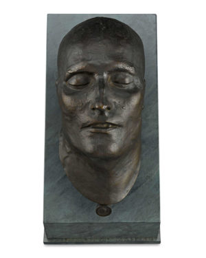 This captivating bronze death mask of the Emperor Napoleon I is cast from the mold created by Dr. Francesco Antommarchi, Napoleon's personal physician and companion during the last two years of his life.