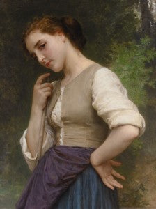 The beautifully finished composition portrays a young shepherdess with a coy smile