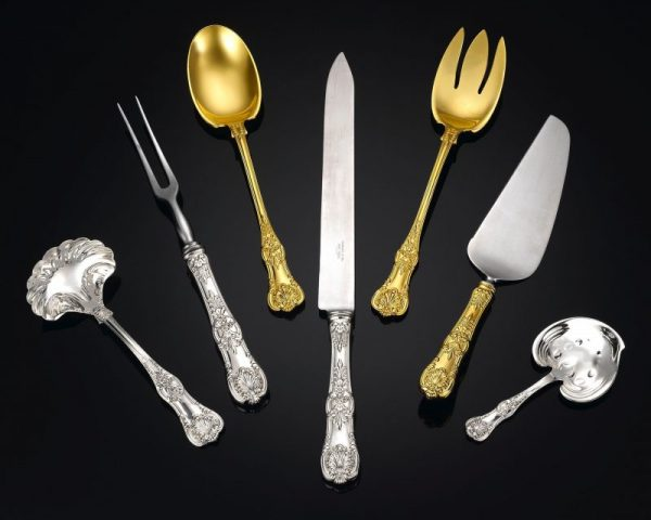 A full array of place and serving pieces are included in this majestic English King flatware service