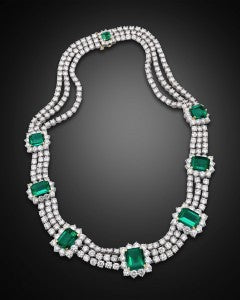 The eight remarkably rare Colombian emeralds display a stunning deep green hue that attest to their important origin