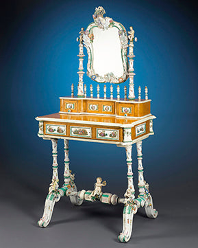 Meissen Porcelain Vanity. Few pieces of Meissen furniture have survived intact, making this a particularly rare find