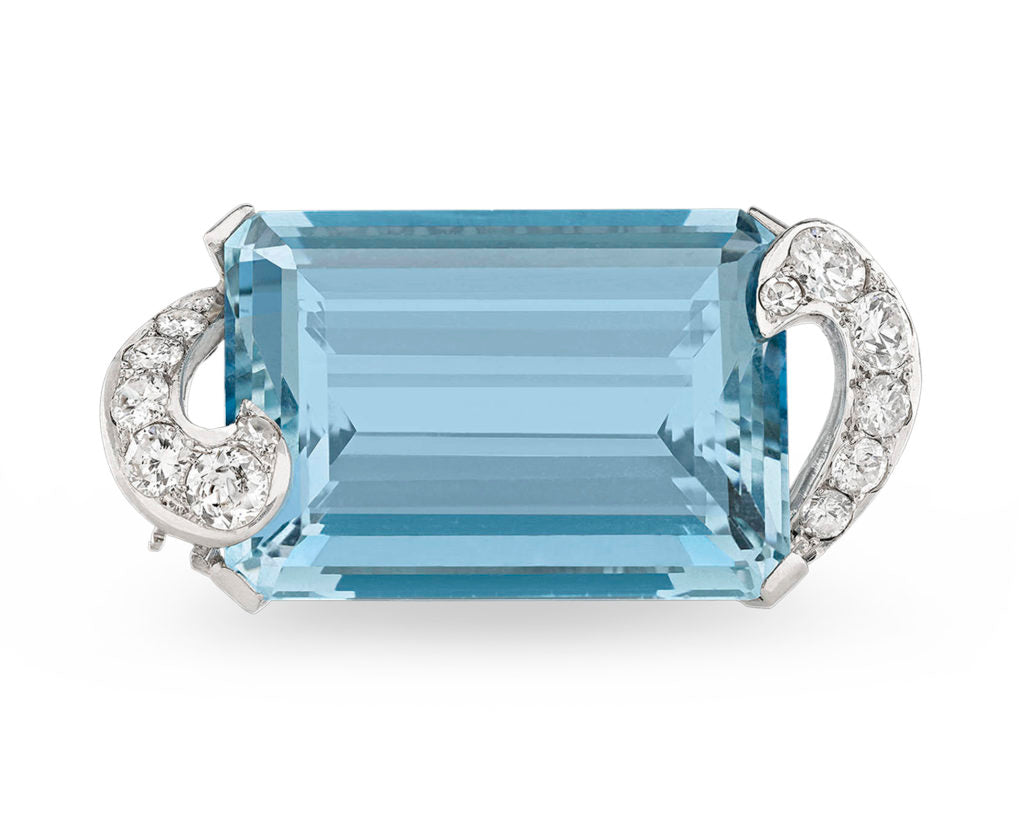 Aquamarine and Diamond Art Deco Brooch