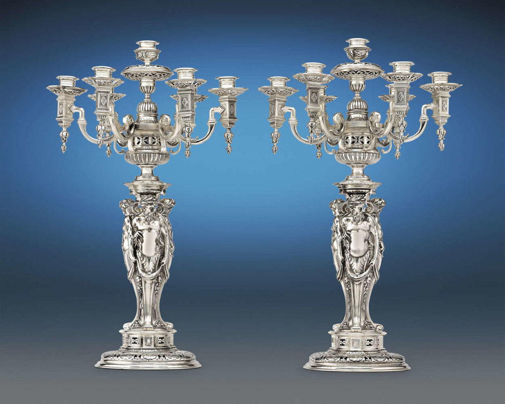 A Pair of Renaissance Revival Silverplate Candelabras by Puiforcat, circa 1890