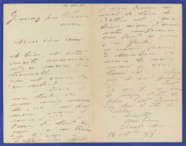 A signed letter from Claude Monet to his friend and art critic Gustave Geffroy