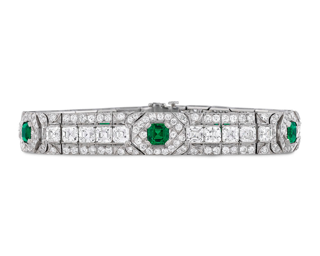 Untreated Colombian Emerald and Diamond Bracelet
