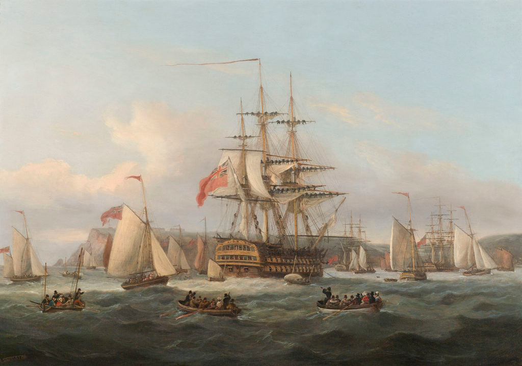 H.M.S. Bellerophon Lying at Anchor by Thomas Luny