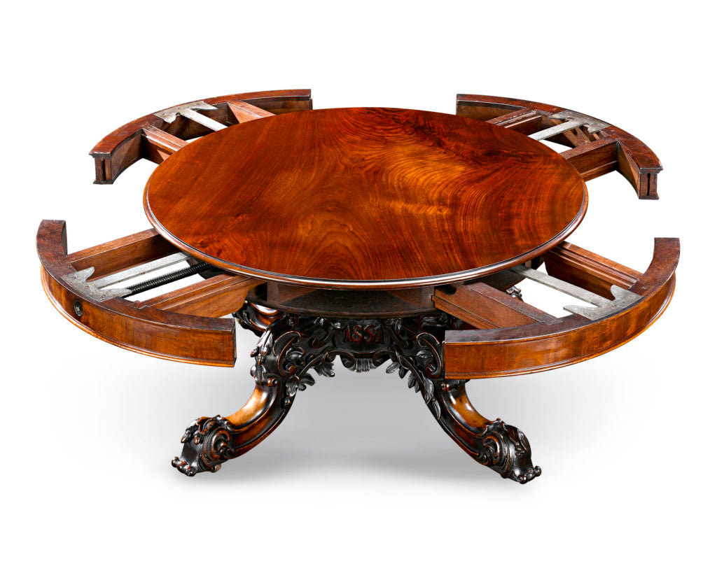 This one-of-a-kind exhibition model expanding round table was created by Samuel Hawkins for display at the Great Exhibition of 1851. Pieces such as this that were made specifically for this seminal exhibition are among the most valuable to be found, as they were crafted with the utmost attention to detail in order to make the very best, lasting impression upon critics and the millions of attendees alike.