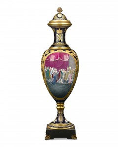 A Sèvres-style porcelain palace covered urn that depicts the marriage of Napoléon to the Archduchess Marie Louise of Austria