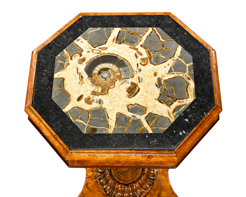 A giant pre-historic specimen of Turtlestone comprises the octagonal top of his incredible Regency-era side table. Taken from the Oxford Clay, this particular Turtlestone has an Ammonite fossil at its center, adding to the scarcity and importance of this amazing table.